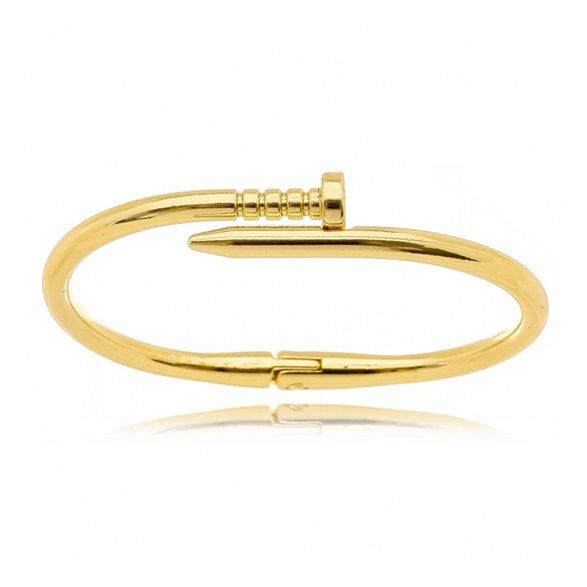 Bracelete Gazin Prego Liso Banhado a Ouro 18K 00002558