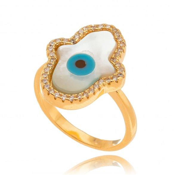 Anel Mão de Fatima Olho Grego Gazin Banhado a Ouro 18K 00015331