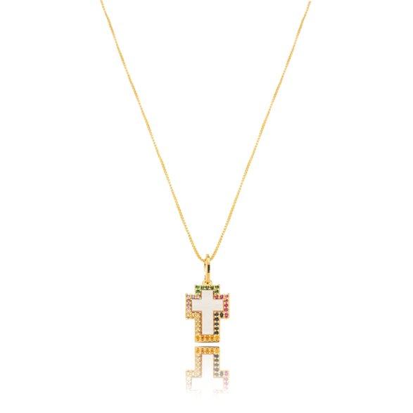 Colar Cruz Esmaltada Color Gazin Banhado a Ouro 18K 00015485