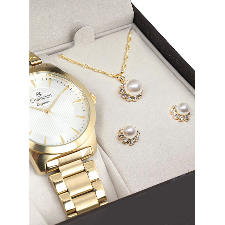 Kit Relógio Champion Coração no Visor e Strass Ch26855W Ch26855