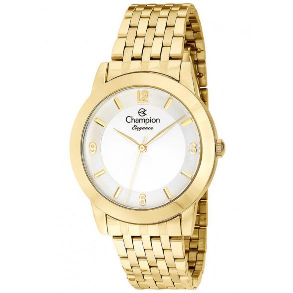 Kit Relógio Champion Dourado + Semi Joias Feminino CN26215Y CN26215