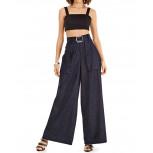 Calca Pantalona Jeans Morena Rosa Cos Alto Com Cinto