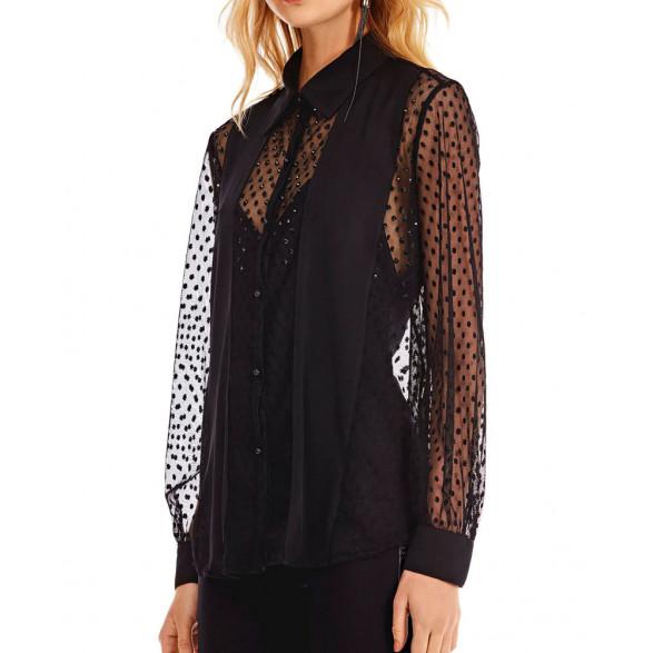 Camisa Morena Rosa Manga Longa Compose de Tecidos 10000107959000