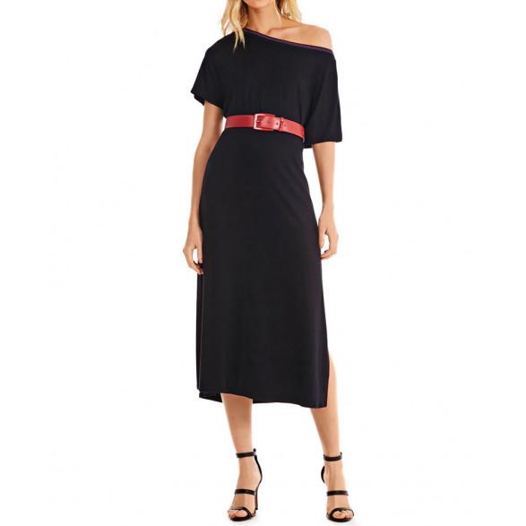 Vestido Morena Rosa Midi Decote Redondo Detalhe Retilinea 10000107878000