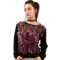 Blusa Morena Rosa Tricot Composê Tecido Rebordado Feminina 10000105934