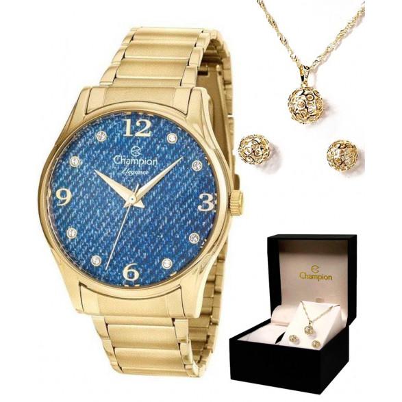 Kit Relógio Champion Dourado Visor Azul + Semi Joia CN26975K CN26975K